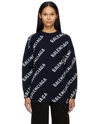 Balenciaga - ネイビー ロゴ オーバーサイズ クルーネック - Lyst
