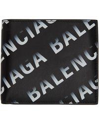 Balenciaga Portefeuille noir et gris Gradient Logo Cash