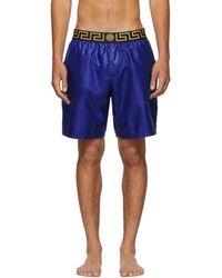 Versace Blue Greek Key Medusa Swim Shorts
