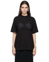 Pushbutton T-shirt Frilled Bra Point noir exclusif à SSENSE