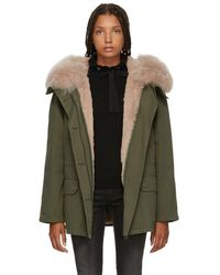 Army by Yves Salomon - Green And Pink Classic Short Fur-lined Parka - Lyst