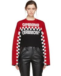 Opening Ceremony - Red And Black Cropped Racer Intarsia Jumper - Lyst