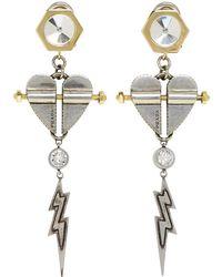 Prada Heart And Lightning Earrings - Metallic