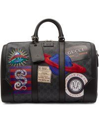 Gucci Black Gg Supreme Patches Duffle Bag
