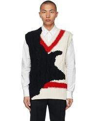Alexander McQueen Off-white & Black Intarsia Ink Bleeding Vest