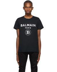 Balmain ブラック ロゴ T シャツ