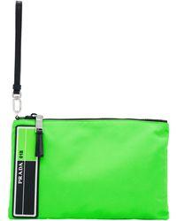 Prada - Green Logo Patch Pouch - Lyst