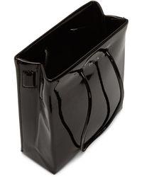 MEDEA ブラック ビニール ロング ストラップ ショート バッグ