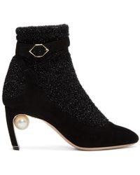 24e96230173d Isabel Marant 70mm Lola Suede   Leather Ankle Boots in Black - Lyst