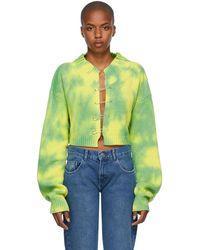 Danielle Guizio Cardigan vert en maille à effet tie-dye à épingles de sûreté