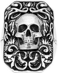 Alexander McQueen Silver Snake Tag Ring - Metallic