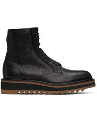 Dries Van Noten Grained Leather Lace-up Boots - Black