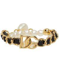 Dolce & Gabbana ゴールド パール & レザー ブレスレット - メタリック