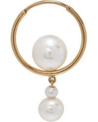 Sophie Bille Brahe Boucle d'oreille pendante à perle dorée Babylon Elipse - Métallisé