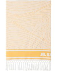 Jil Sander ホワイト & イエロー ロゴ ビーチ タオル - マルチカラー