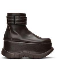 Sunnei ブラウン ジップ プラットフォーム ブーツ