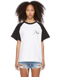 Rhude White & Black Raglan Logo T-shirt