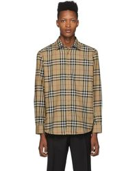 Burberry Beige Check Flannel Chambers Shirt - Natural
