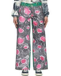 Chopova Lowena Black & Pink Marbled Jeans