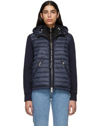 Moncler - Navy Knit Combo Hooded Jacket - Lyst