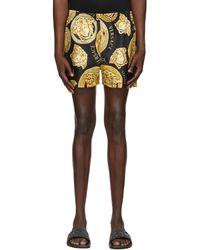 Versace ブラック & ゴールド Medusa Print ショーツ - マルチカラー