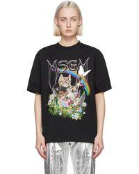 MSGM - ブラック Cat ロゴ T シャツ - Lyst