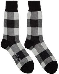 Yohji Yamamoto - White And Black Check Socks - Lyst
