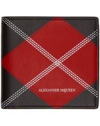 Alexander McQueen - Red And Black Argyle Wallet - Lyst