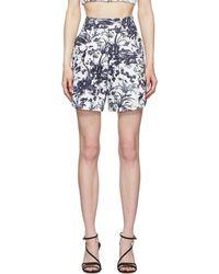 Erdem White And Navy Howard Tailored Shorts