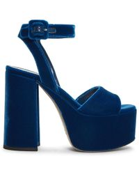 Miu Miu - Blue Velvet Platform Sandals - Lyst