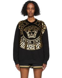 Versace ブラック & ゴールド Medusa ロゴ スウェットシャツ