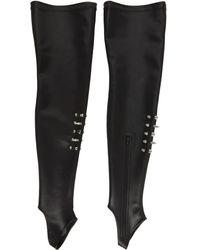 we11done Lambskin Stud Socks - Black