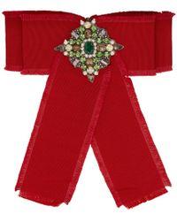 26e456b5362 Gucci - Red Ribbon Brooch - Lyst