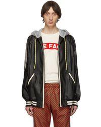 Gucci ブラック レザー フード ボンバー ジャケット