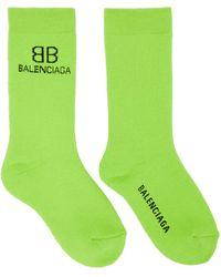 Balenciaga グリーン & ブラック Bb ソックス