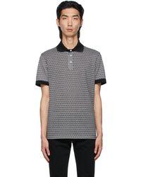 Ferragamo ブラック & ホワイト Jacquard Gancini ポロシャツ