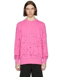 DIESEL - Pink S-graham Distress Sweatshirt - Lyst