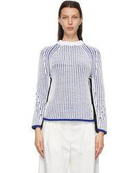 3.1 Phillip Lim ホワイト & ブルー ツートーン セーター
