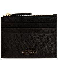 Smythson ブラック Panama ジッパー カード ホルダー