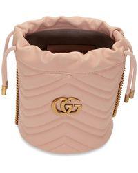 Gucci - ピンク ミニ GG マーモント 2.0 バケット バッグ - Lyst
