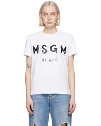 MSGM ホワイト Artist ロゴ T シャツ