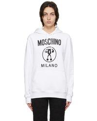 Moschino - ホワイト Double Question Mark フーディ - Lyst