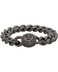 Versace Ssense Exclusive Gunmetal Medusa Chain Bracelet - Metallic