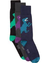 PS by Paul Smith Ensemble de trois paires de chaussettes Dino multicolores