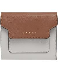 Marni - ブラウン & グレー フラップ ウォレット - Lyst