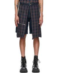 Youths in Balaclava Blue Denim Flannel Godstar Shorts