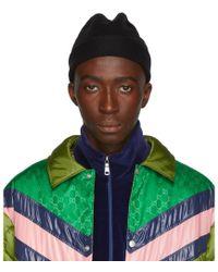 Gucci - Bonnet en laine noir Web - Lyst