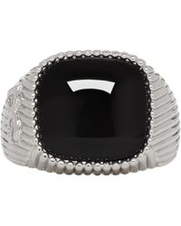 Dolce & Gabbana | Silver And Black Dg Stone Ring | Lyst