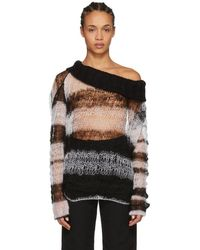 Ann Demeulemeester - Black And White Striped Off-the-shoulder Sweater - Lyst