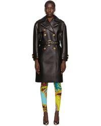 Versace ブラック レザー ベルト トレンチ コート